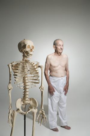 Skeleton and a senior man