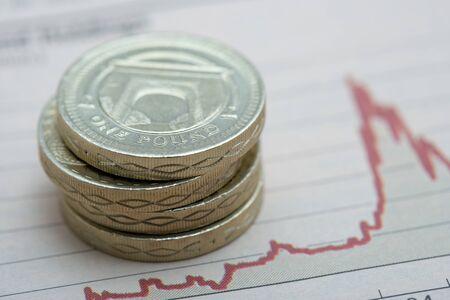 Pound coins on graph Stock Photo