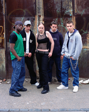 Group of teenagers on street