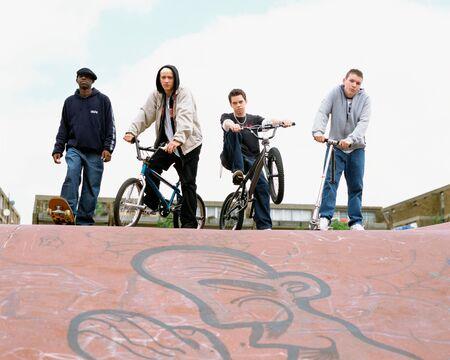 Teenagers at BMX park Stock Photo