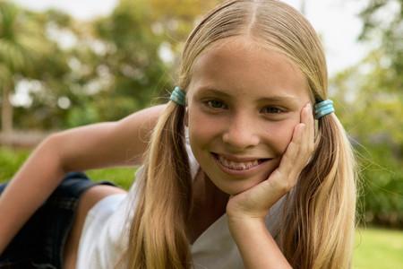 Young girl smiling at camera