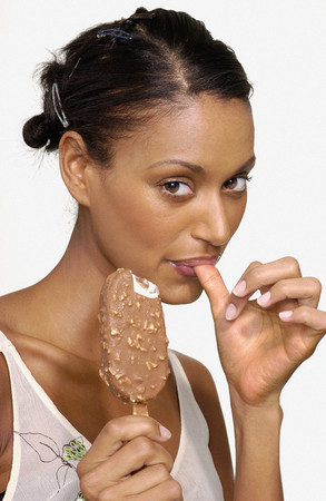 Woman eating an ice cream