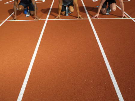 Male runners at starting line
