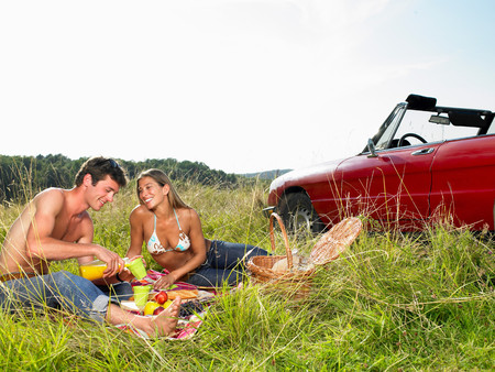 Couple Having A Picnic In A Field Stok Fotoğraf