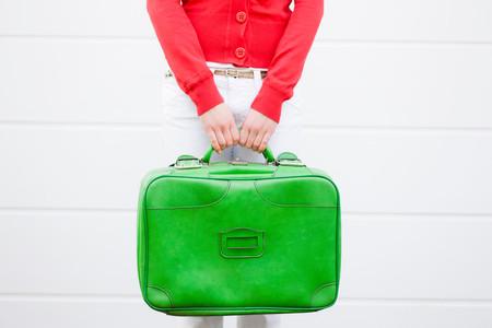 Girl Holding Suitcase 版權商用圖片