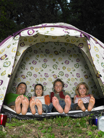 Four Friends In Tent