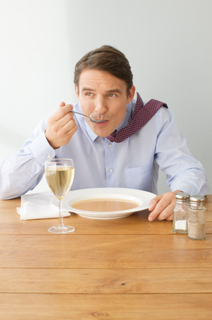 Man Enjoying A Reasonable Meal