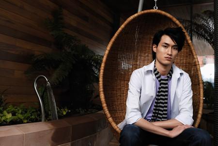 Man Seating In Designer Chair Stock fotó