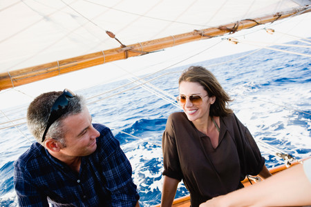 Couple On A Sailing Boat