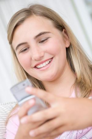 Teenage Girl On Mobile Phone