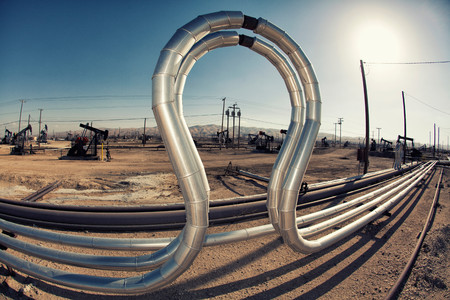 Curved Pipes In Oil Field