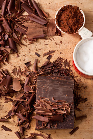 Chocolate Shavings, Cocoa And Sugar Reklamní fotografie - 117993784