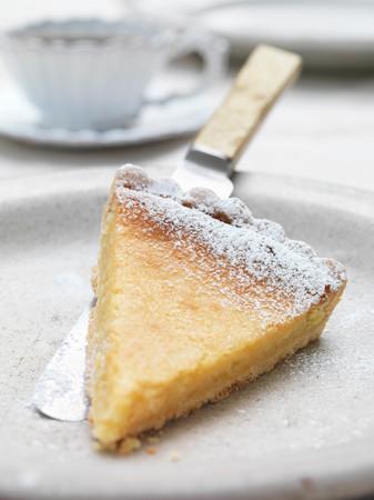 Slice Of Lemon Tart On Plate Imagens