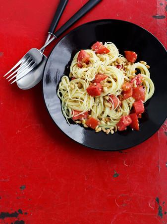 Bowl Of Tomato Pasta With Garlic