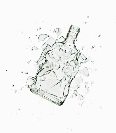 Close Up Of Glass Bottle Shattering