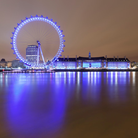 London Eye Lit Up At Night
