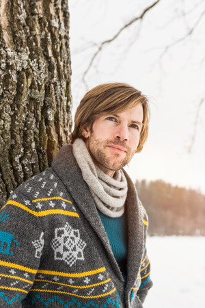 Portrait Of Man Wearing Knitted Cardigan