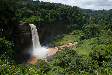 Ekom Waterfall In The Littoral Region Of Cameroon