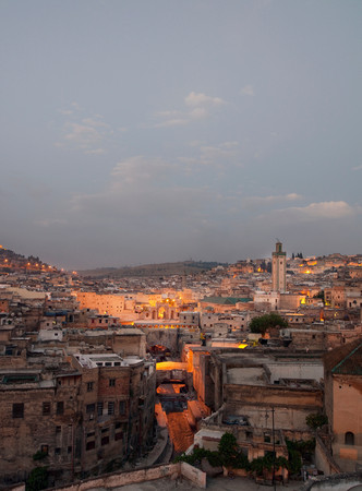 View Of The Medina Including The Kairaouine Mosque, At Dawn In Fes, Morocco 版權商用圖片