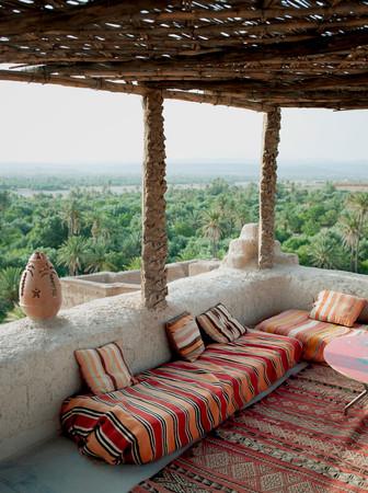 The Terrace Of A Small Hotel In Dades, Overlooking The Palms Of The Skoura Oasis In Morocco 版權商用圖片