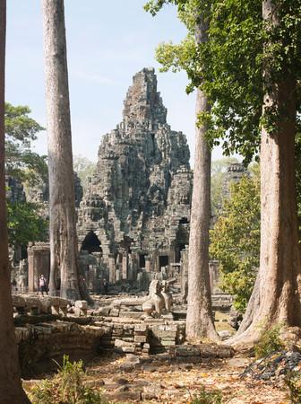 The Bayon Temple At Angkor, Siem Reap Province, Cambodia 스톡 콘텐츠