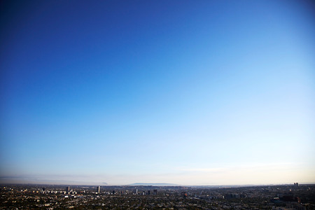 Cityscape And Clear Blue Sky, Los Angeles, California, Usa 스톡 콘텐츠