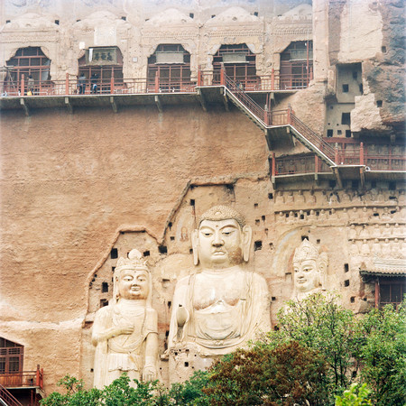Maijishan Grottoes, A Series Of 194 Caves In Tianshui. Silk Route, Tianshui, Gansu Province, China 版權商用圖片