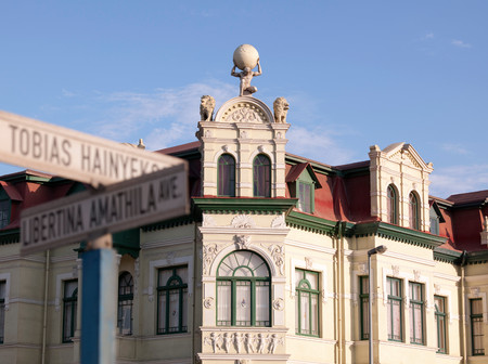 Quiet Street Scene With German Colonial Architecture In Swakopmund, Namibia