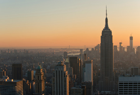 View From Rockefeller Centre Towards Empire State Building, Manhattan, New York City, Usa
