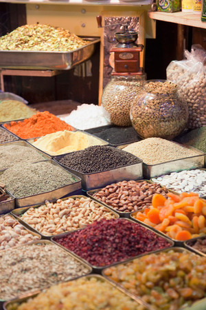Spices, Dried Fruits And Nuts For Sale At A Stall In A Souq In The Old City In Damascus, Syria