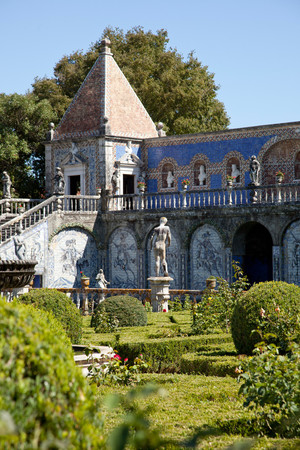 Statues And Old Azulejos, The Iconic Blue-Glazed Ceramic Tile Work From The Area, In The Beautiful Gardens Of The Palacio De Fronteira, In Lisbon, Portugal Stock Photo