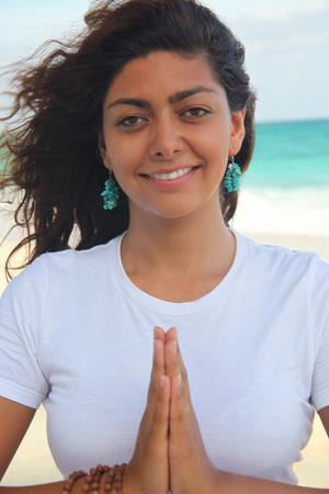 Female With Hands Together, Paradise Island, Nassau, Bahamas Stock Photo