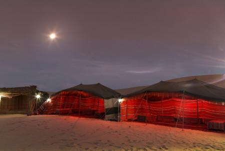 Bedouin Tents At Night In Desert, Adu Dhabi, United Arab Emirates