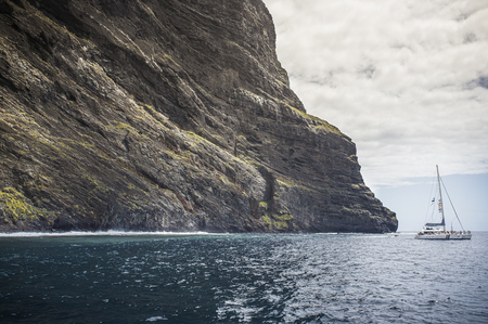 Ferry Boat In Masca, Tenerife, Canary Islands, Spain 免版税图像