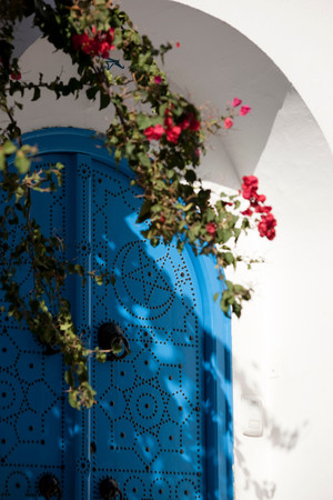 Typical Blue And White Colouring On Doorway In Sidi Bou Said, Tunisia Stock Photo