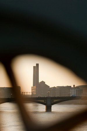 An Old Factory Building Seen Over The River Thames, London, Uk
