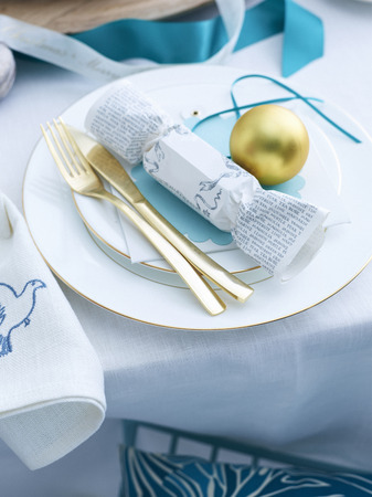 Decorated Christmas Table Setting