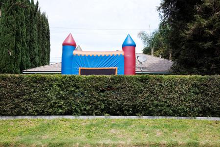 Inflatable Bouncy Castle On Suburban Street