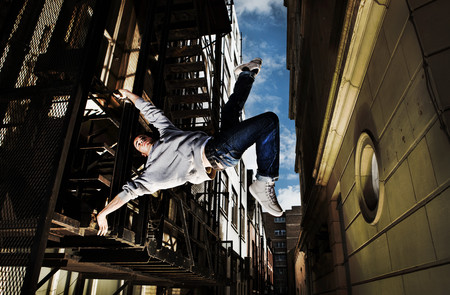 Young Man Breakdancing Stock Photo