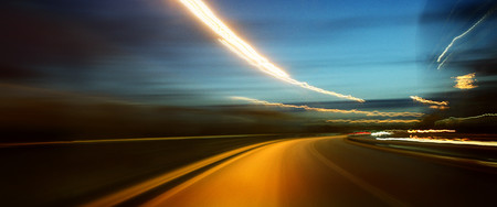 Road At Night, Blurred Motion
