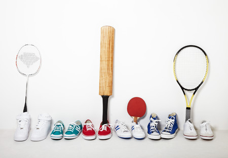 Sports Equipment Lined Up
