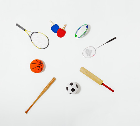 Sports Equipment Laid Out In A Circle Stock Photo