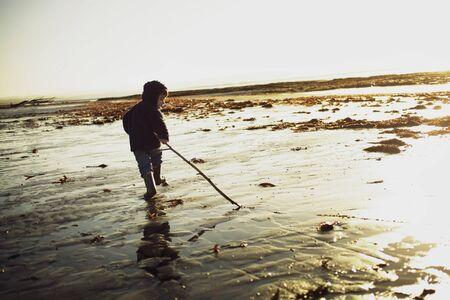 Boy On Troon Beach, Ayrshire, Scotland
