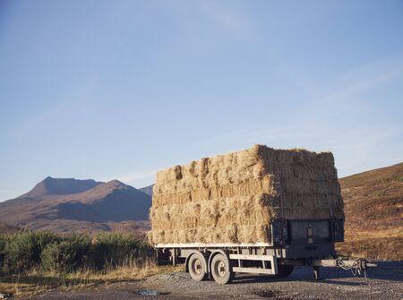 Trailer With Haystack On Roadside, North West Highlands, Scotland, Uk 写真素材