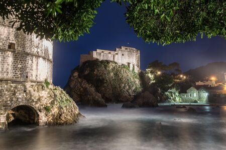 View Of Old Town Castle At Night, Dubrovnik, Croatia