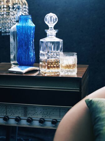 Retro Styled Radiogram With Whiskey Decanter And Glass 写真素材