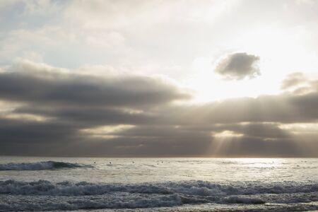Seascape And Sunbeam, San Diego, California, Usa 写真素材