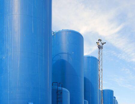 Oil Or Gas Storage Tanks, Aberdeen, Scotland 写真素材