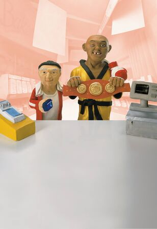 Model Of Boxer And Manager Buying Aspirin From Pharmacy Counter