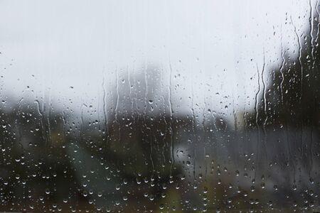 View Through Window Pane With Raindrops
